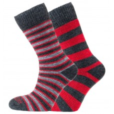 Horizon Merino Outdoor Sock 2 Pack – Stripes & Hoops Red/Charcoal