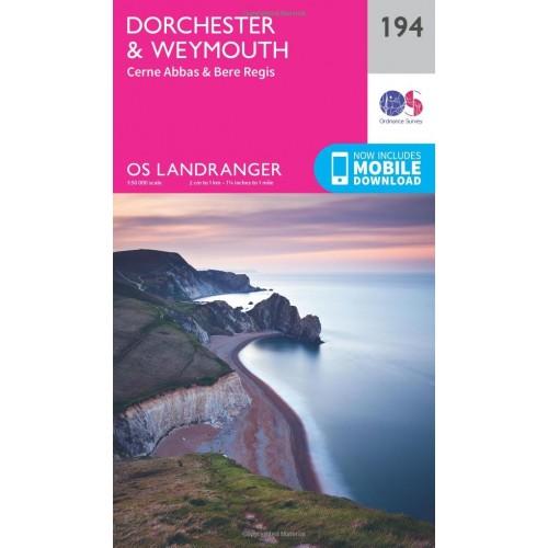 OS Landranger 194 Dorchester & Weymouth, Cerne Abbas & Bere Regis